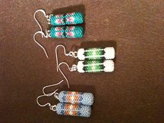 These are about an inch fully beaded earrings, I beaded. Something different.