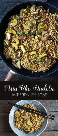Mie-Nudeln mit Erdnuss-Soße, Zucchini & Pilzen | Madame Cuisine Rezept