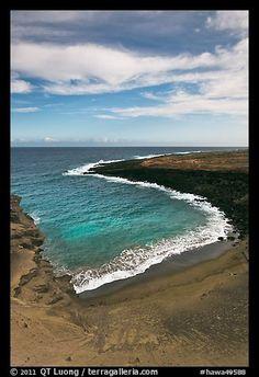 Green olivine sand beach. Big Island, Hawaii, USA (color)