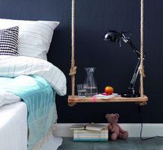DIY Pendant Bedside Table Of Wood - http://www.homedecority.com/decorating-ideas/diy-pendant-bedside-table-of-wood.html