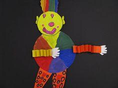 Color Wheel Clowns Elementary Art Education Kindergarten 1st grade collage marker paint paper