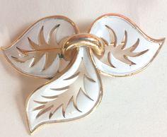 Vintage signed Trifari gold trilliam trefoil 3 leaf white enamel Brooch PIN  #Trifari