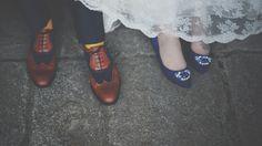 Bride & Groom Feet // Shoes // Wedding dress // Alternative Wedding