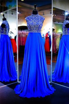 A Line High Neck Keyhole Back Cap Sleeve Royal Blue Chiffon Beaded Prom Dress