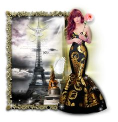 """""""Paris Will Always Be Beautiful"""" by mari-777 ❤ liked on Polyvore featuring blackandgold, gown, prayforpeace and prayforparis"""