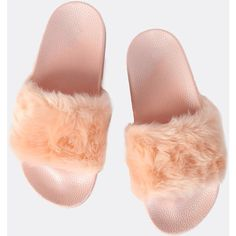 SheIn(sheinside) Furry Faux Fur Slides PINK ($16) ❤ liked on Polyvore featuring shoes, sandals, pink, low heel peep toe shoes, small heel shoes, faux fur sandals, peep toe sandals and short heel shoes