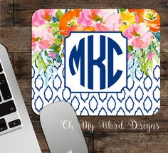 Monogrammed Mouse Pad-Monogram Mouse by OhMyWordDesigns on Etsy