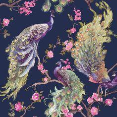 Peacock Wallpaper, Navy Wallpaper, Glitter Wallpaper, Wallpaper Online, Wallpaper Samples, Animal Wallpaper, Pattern Wallpaper, Nature Wallpaper, Bathroom Wallpaper Trends