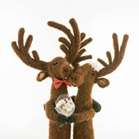 Felted moose couple handmade toys