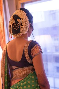 "Photo from Big Day Filmer ""Portfolio"" album Indian Long Hair Braid, Long Hair Ponytail, Braids For Long Hair, Best Wedding Hairstyles, Bun Hairstyles, Bridal Hair Buns, Bridal Hairstyle, Saree Backless, Indian Costumes"