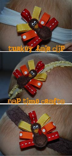 Nap Time Crafts: Turkey Hair Clip - would look cute with turkey shirts! Thanksgiving Crafts, Holiday Crafts, Holiday Fun, Thanksgiving Hair Bows, Baby Crafts, Fun Crafts, Crafts For Kids, Adult Crafts, Diy Accessoires