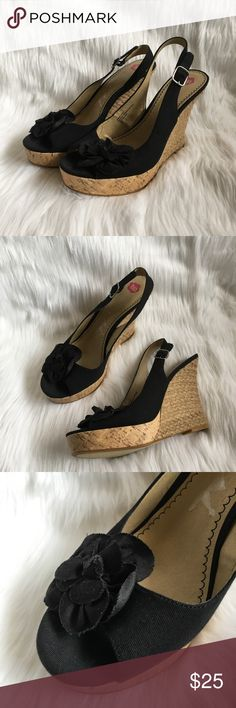 """BP Nordstrom Black Flower Woven Slingback Wedges BP (brass plum) black flower wedges. from nordstrom. black canvas upper, cork platform, and woven wedge. black flower on the outer part of the toe. open toe. slingback style with a buckle closure. so cute and trendy!  size: 9.5 measurements: 1"""" platform / 5"""" heel fabric content: fabric upper flaws: none bp Shoes Wedges"""