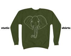 Elephant Sweatshirt | White Elephant Sweater | Animal Clothing