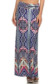 ColorMC Womens Plus Size Womens Floral Circle Print Long Maxi Knit Skirt 3XL LuxeBlue * Be sure to check out this awesome product.