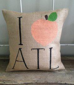 Burlap Pillow  I peach ATL  Atlanta Georgia by TwoPeachesDesign, $32.00