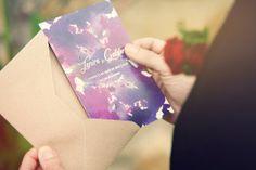 Wedding stationery, Purple wedding invitation. Invitación de boda.
