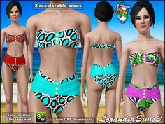 High waist bottom and strapless top with padded bust in this sims 3 female swimwear. 2 recolorable areas, 3 color variations, custom CAS thumbnails.