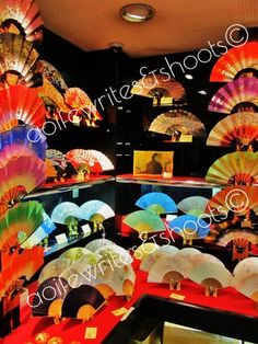 Kyoto, Japan. Japanese fans. Colourful!