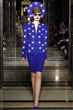 Starry Eyed: Gareth Pugh - Cobalt blue suit with star print - with matching blue pointed toe pumps and hat - Fall 2016 Ready-to-Wear Fashion Show...x