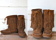 MINNETONKA Mid Calf Boots Brown Suede Moccasins by LaDeaDeiSogni