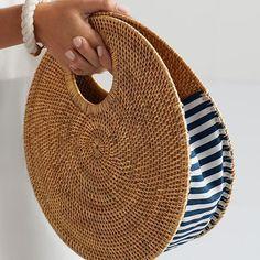 Circle Rattan Handbag   Mark and Graham #LeatherHandbagsHandMade