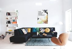 Inspiration: Dark grey sofa and retro chair