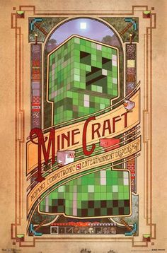 A great Minecraft video game poster! A Creeper portrait laid out in a classy retro Art Nouveau style! Published in Fully licensed. Check out the rest of our excellent selection of Minecraft posters! Need Poster Mounts. Vídeos Minecraft, Minecraft Posters, Minecraft Video Games, Minecraft Fan Art, Mojang Minecraft, Minecraft Banner Designs, Minecraft Banners, Minecraft Creations, Art Nouveau