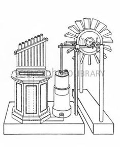 Historical drawing of a wind-powered organ
