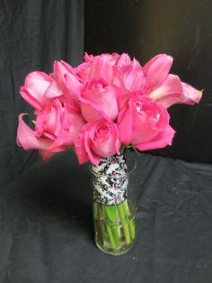 hot pink roses, callas and tulips Flowergirls Weddings 58th & Lewis Tulsa, Ok 918-949-1553 www.flowergirlsoftulsa.com