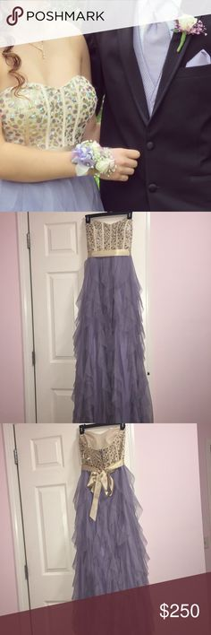lavender prom dress There is a small dot of discoloration on sash, not noticeable unless really looking for it.  Some rhinestones may be missing but I can't tell. Also, there is a rip in the top of the lining on the inside of the dress, however this doesn't effect how you wear the dress as it is still perfectly fine to wear, this is probably easy to fix. Bottom of dress could have a few signs of wear from walking/dancing but nothing severe. One of the hanging straps is missing. NOT 3 for 9$…