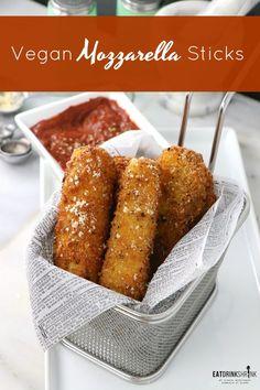 Vegan Mozzarella Sticks with Easy Red Sauce - Eat. - Vegan Mozzarella Sticks with Easy Red Sauce – Eat. Vegan Foods, Vegan Snacks, Vegan Dishes, Vegan Lunches, Vegan Meals, Vegan Mozzarella Sticks, Vegetarian Recipes, Cooking Recipes, Healthy Recipes