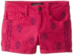 Lucky Brand Big Girls' Motif Emb Riley Short, Fluorescent Fuchsia, 12. 3 inch hem. 5 pocket detail.