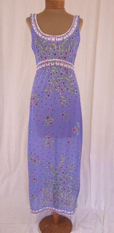 Vintage 1960s Emilio Pucci for Formfit Rogers Periwinkle Blue Floral Slip Dress