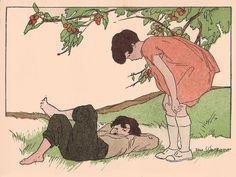 """I am waiting for that cherry to fall into my mouth...    """"Fifty Flags and Other Stories, Book One"""" part of the True Story Series published by the Bobbs-Merrill Co., 1928 copyright. Written by Clara B. Baker and Edna D. Baker. Illustrated by Vera Stone Norman."""