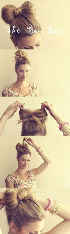 """Cool and Easy DIY Hairstyles - The Hair Bow - Quick and Easy Ideas for Back to School Styles for Medium, Short and Long Hair - Fun Tips and Best Step by Step Tutorials for Teens, Prom, Weddings, Special Occasions and Work. Up dos, Braids, Top Knots and Buns, Super Summer Looks <a href=""""http://diyprojectsforteens.com/diy-cool-easy-hairstyles"""" rel=""""nofollow"""" target=""""_blank"""">diyprojectsfortee...</a>"""