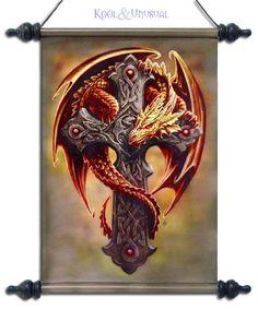 "Anne Stokes Wall Art Scroll: ""Woodland Guardian"" Orange Dragon with Celtic Cross"