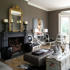 Painting The Fireplace Black Wohnzimmer Grau Gold