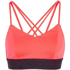 Rebecca Minkoff Damaris neon stretch-jersey sports bra ($37) ❤ liked on Polyvore featuring activewear, sports bras, pink, neon sports bra, neon pink sports bra, red sports bra, rebecca minkoff and adjustable sports bra