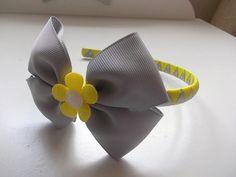 Handmade hairband/headband with bow, yellow and grey ,centre flower . Hair Band, My Hair, Headbands, Centre, Bows, Yellow, Grey, Flowers, Handmade