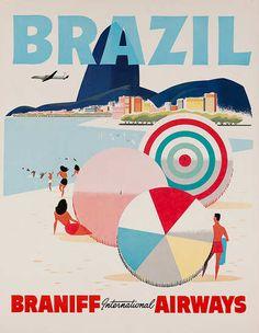 DP Vintage Posters - Brazil Braniff International Airways Original.  Rio de Janeiro <3