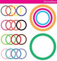 Colorful Scallop Circle Digital Frames, Circles Clip Art, Digital Clipart, Digital Download, Clipart Frame, Frames Clipart, Digital Labels - 1 Zip