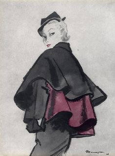 Christian Dior, 1948. Illustration: Pierre Mourgue.