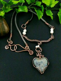 Adams Handcrafted Jewelry. Heart shaped Lapradorite Necklace with beautiful luster.