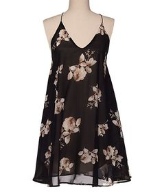 Black Floral A-Line Dress