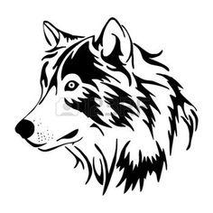 dessin tribal: vecteur de côté tête de loup Illustration