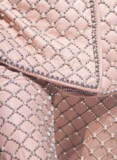 Detail of pink garment with beads, embroidery and pearls - Valentino Couture Fall 2008
