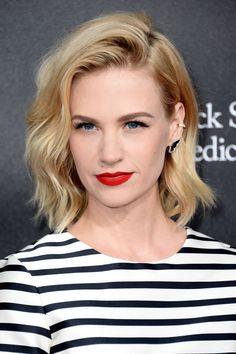 matte red lips + stripes.