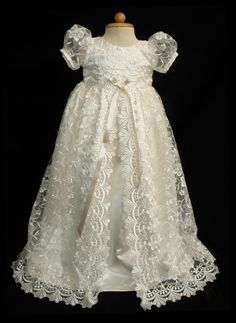 Stunning Off White Lace Christening Gown, Baptism, Dedication, 0 - 3 months, 0-3 months, 3-6 months, 6-9 months, 9-12 months, 12-24 months