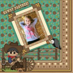 "Lil' Cowpokes by BoomersGirl Designs available at http://store.gingerscraps.net/Lil-Cowpokes-BGD.html makes me want to yell ""Yeehaw!"".  The cutest little cowboys and cowgirls, pretty papers and a lovely colour scheme add to the delight of this kit!  My own original layout."