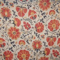 Zarafshan Linen Fabric Large floral print in terracotta and yellows on beige linen